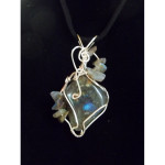 Wire Wrapped Labradorite Gemstone Pendant with Labradorite Chip Accents